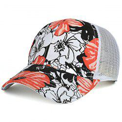 Mesh Splicing Hand Painting Flowers Baseball Cap - ORANGE YELLOW
