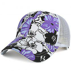 Mesh Splicing Hand Painting Flowers Baseball Cap - PURPLE