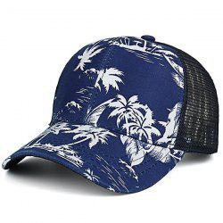 Mesh Splicing Coconut Trees Hawaiian Print Hat