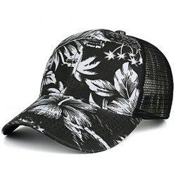 Mesh Spliced Palm Leaf Hawaiian Print Hat