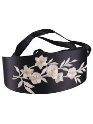 Chinoiserie Banded Retro Blossom Embroidered Corset Belt - OFF-WHITE