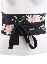 Chinoiserie Flowers Embroidered Fabric Corset Belt