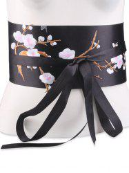 Banded Flowers Branch Embroidered Chinoiserie Corset Belt - SHALLOW PINK