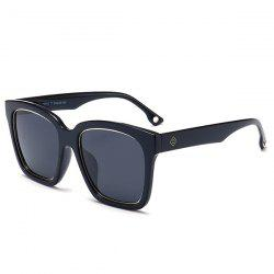 Mirrored Anti UV Wide Frame Sunglasses - DOUBLE BLACK