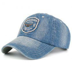 Lettres Badge Patchwork Denim Baseball Hat - Gris
