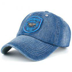 Letters Badge Patchwork Denim Baseball Hat