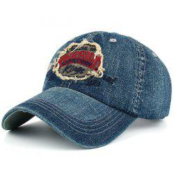 Letters Patchwork Embroidery Denim Baseball Hat - RED