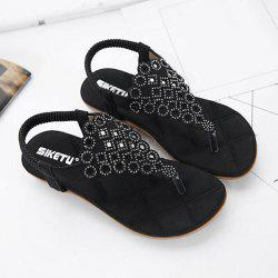 Stitching Faux Leather Rhinestones Sandals