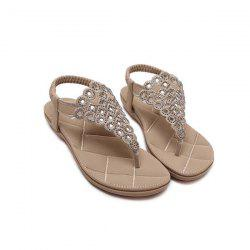 Stitching Faux Leather Rhinestones Sandals -