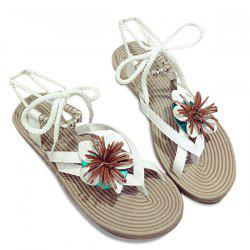 Flower Beads Tie Up Flat Sandals - WHITE 38
