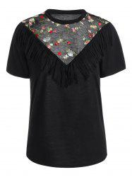 Mesh Trim Fringe Embroidered Top