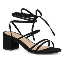 Tie Up Strappy Mid Heel Sandals