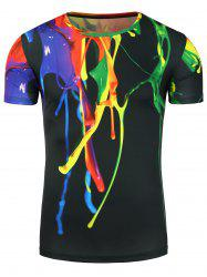 3D Colorful Splatter Paint Stretchy T-Shirt - COLORMIX