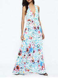Criss Cross Floral Print Plunging Neck Dress