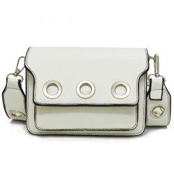 Wide Strap Eyelets Cross Body Bag - WHITE