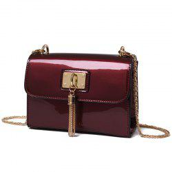 Tassel Patent Leather Crossbody Bag - WINE RED