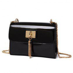 Tassel Patent Leather Crossbody Bag - BLACK