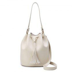 Drawstring Tassel Bucket Bag
