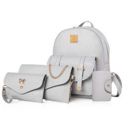 Briaded 4 Pieces Backpack Set - GRAY