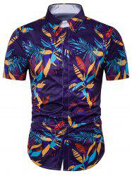 Feuilles Imprimer Couverture Placket Hawaiian Shirt