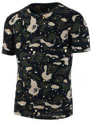 Splatter Painted Camo Print T-Shirt