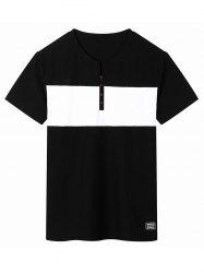 Two Tone Short Sleeve Henley Shirt