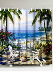 Oil Painting Beach Sea Landscape Shower Curtain