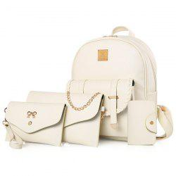 Briaded 4 Pieces Backpack Set - OFF-WHITE