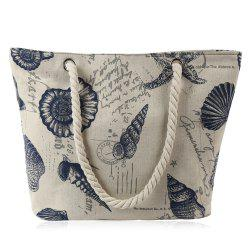 Canvas Seashell Print Beach Bag - OFF-WHITE