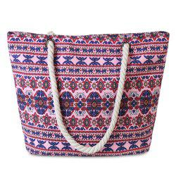 Canvas Ethnic Print Beach Bag - PURPLISH RED