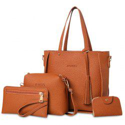 Tassel 4 Pieces Tote Bag Set - BROWN