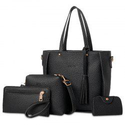 Tassel 4 Pieces Tote Bag Set - BLACK