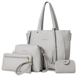 Tassel 4 Pieces Tote Bag Set - GRAY
