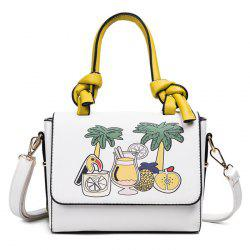 Faux Leather Print Handbag - WHITE