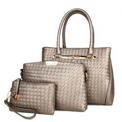 3 Pieces Woven Faux Leather Handbag Set