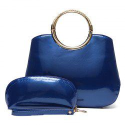 Patent Leather Wristlet and Handbag - BLUE