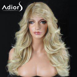 Adiors Long Layered Side Bang Shaggy Big Wave Synthetic Wig - YELLOW
