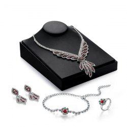 Rhinestoned Wings Jewelry Set