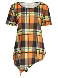 Asymmetric Plaid Plus Size Top