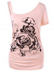 Plus Size One Shoulder Floral Tee