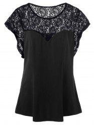 Plus Size Sheer Lace Trim T-Shirt