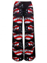 American Flag Print Patriotic Wide Leg Pants