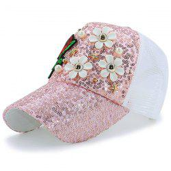 Sequin Faux Pearl Stars Flower Embroidery Hat