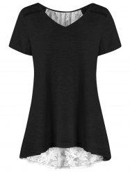 V Neck Plus Size High Low Hem Lace Trim Tee -