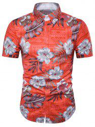 Floral Tribal Print Cover Placket Hawaiian Shirt