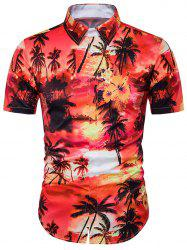 Tie Dye Trees Print Cover Placket Hawaiian Shirt
