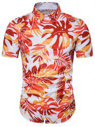 Ombre Leaves Print Cover Placket Hawaiian Shirt