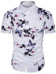 Butterfly Floral Print Cover Placket Hawaiian Shirt -