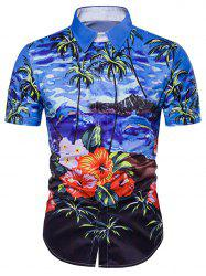 Tie Dye Floral Print Cover Placket Hawaiian Shirt - BLUE