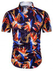 Chain Floral Print Cover Placket Hawaiian Shirt